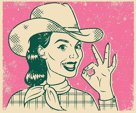 Retro Screen Print Smiling Cowgirl Line Art Illustration