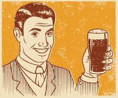 An vintage styled line art illustration of a smiling handsome man holding a glass of dark beer. Grunge texture added to create a trendy screen printed effect.
