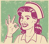 An vintage styled line art illustration of a smiling nurse giving an OK sign. Grunge texture added to create a trendy screen printed effect.