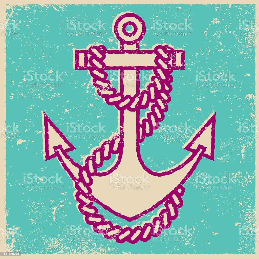 Retro Screen Print Tattoo Style Anchor vector art illustration