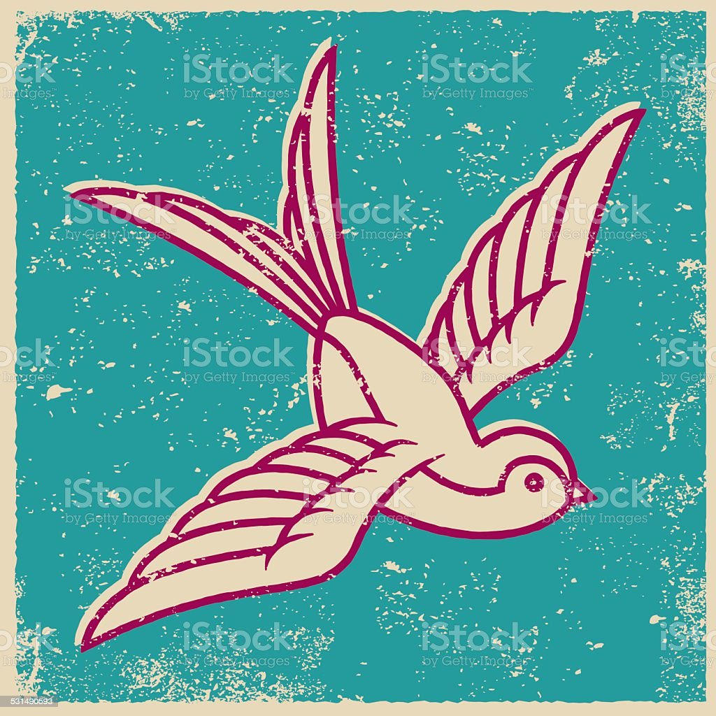 Retro Screen Print Tattoo Style Swallow vector art illustration