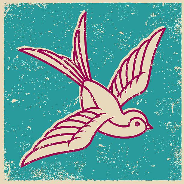 illustrations, cliparts, dessins animés et icônes de imprimé style rétro hirondelles de tatouage - tatouages d'oiseaux