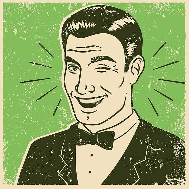illustrazioni stock, clip art, cartoni animati e icone di tendenza di serigrafia retrò uomo fare l'occhiolino - fare l'occhiolino