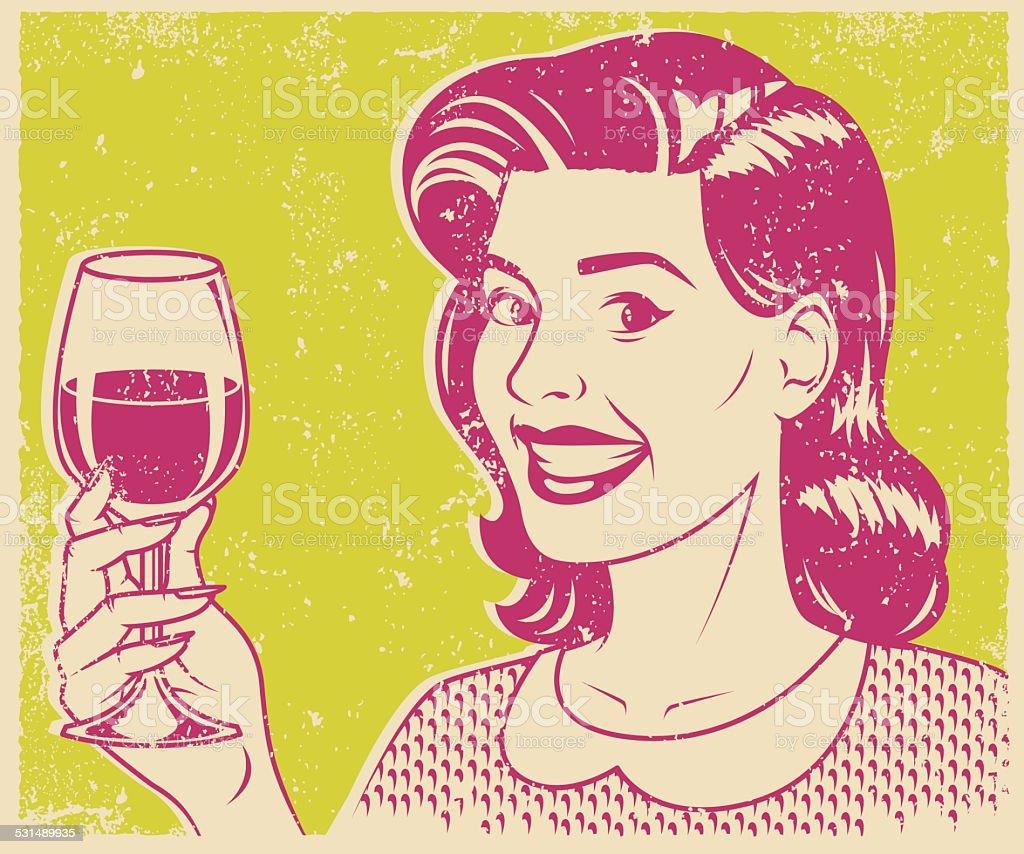 Retro Screen Print Woman Drinking Wine vector art illustration