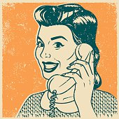 Retro Screen Print Woman on the Phone