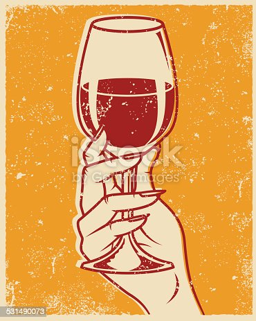An vintage styled line art illustration of a hand holding a glass of red wine. Grunge texture added to create a trendy screen printed effect.