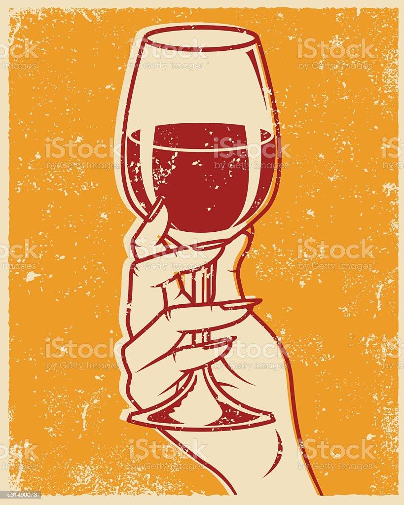 Retro Screen Printed Hand and Wine Glass vector art illustration