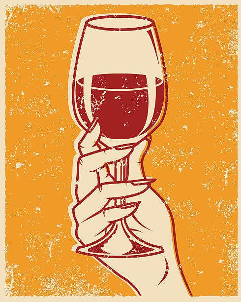 Retro Screen Printed Hand and Wine Glass An vintage styled line art illustration of a hand holding a glass of red wine. Grunge texture added to create a trendy screen printed effect. silk screen stock illustrations