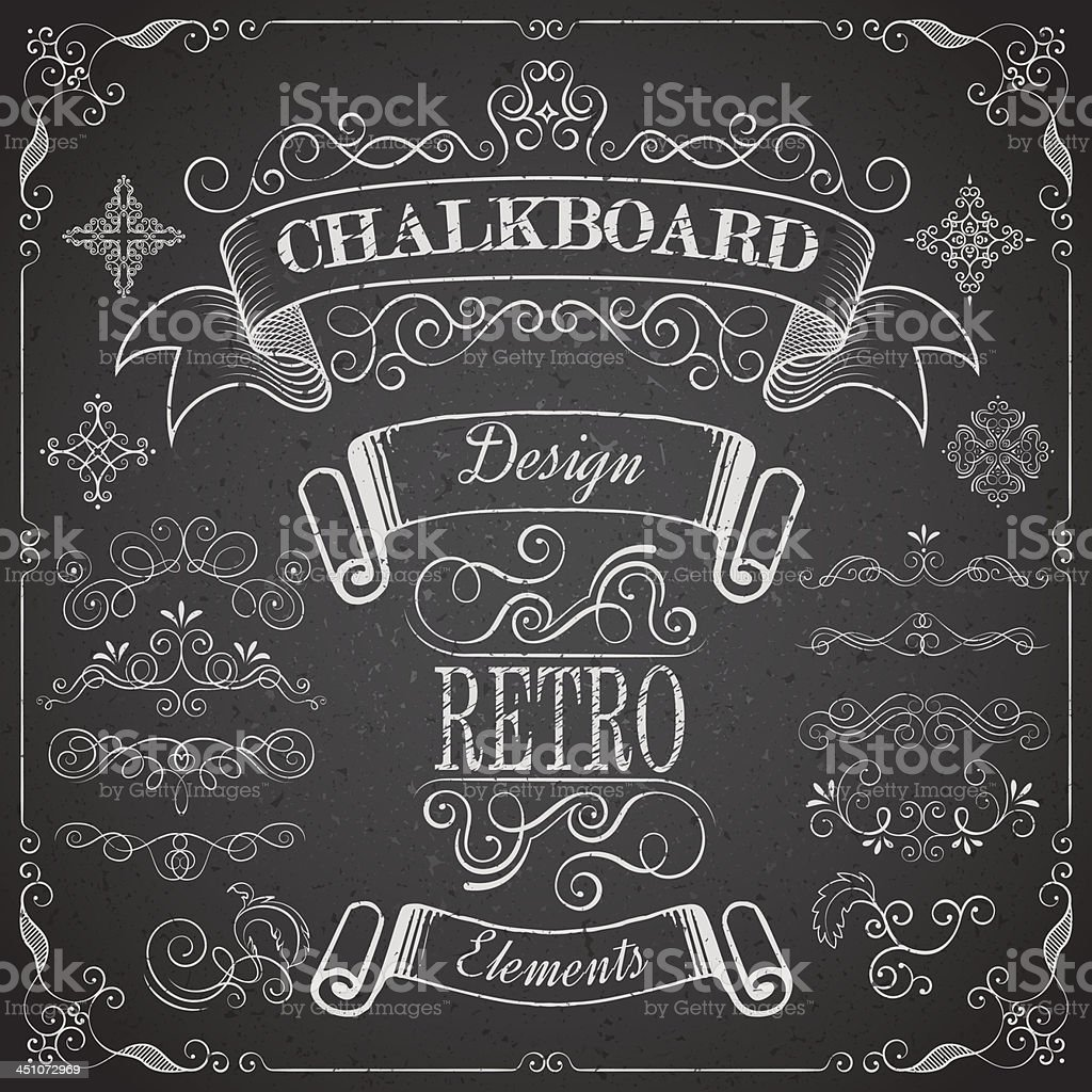 Retro scroll dividers and icons on chalkboard royalty-free retro scroll dividers and icons on chalkboard stock vector art & more images of abstract