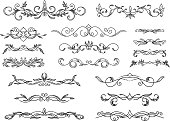 Retro scroll dividers. Vector freehand drawing. Calligraphic decorative element.
