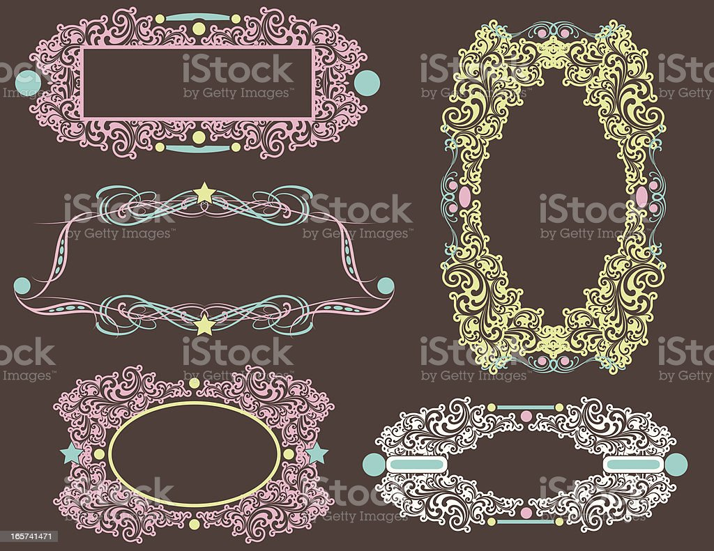 Retro Scroll Frames and labels royalty-free stock vector art