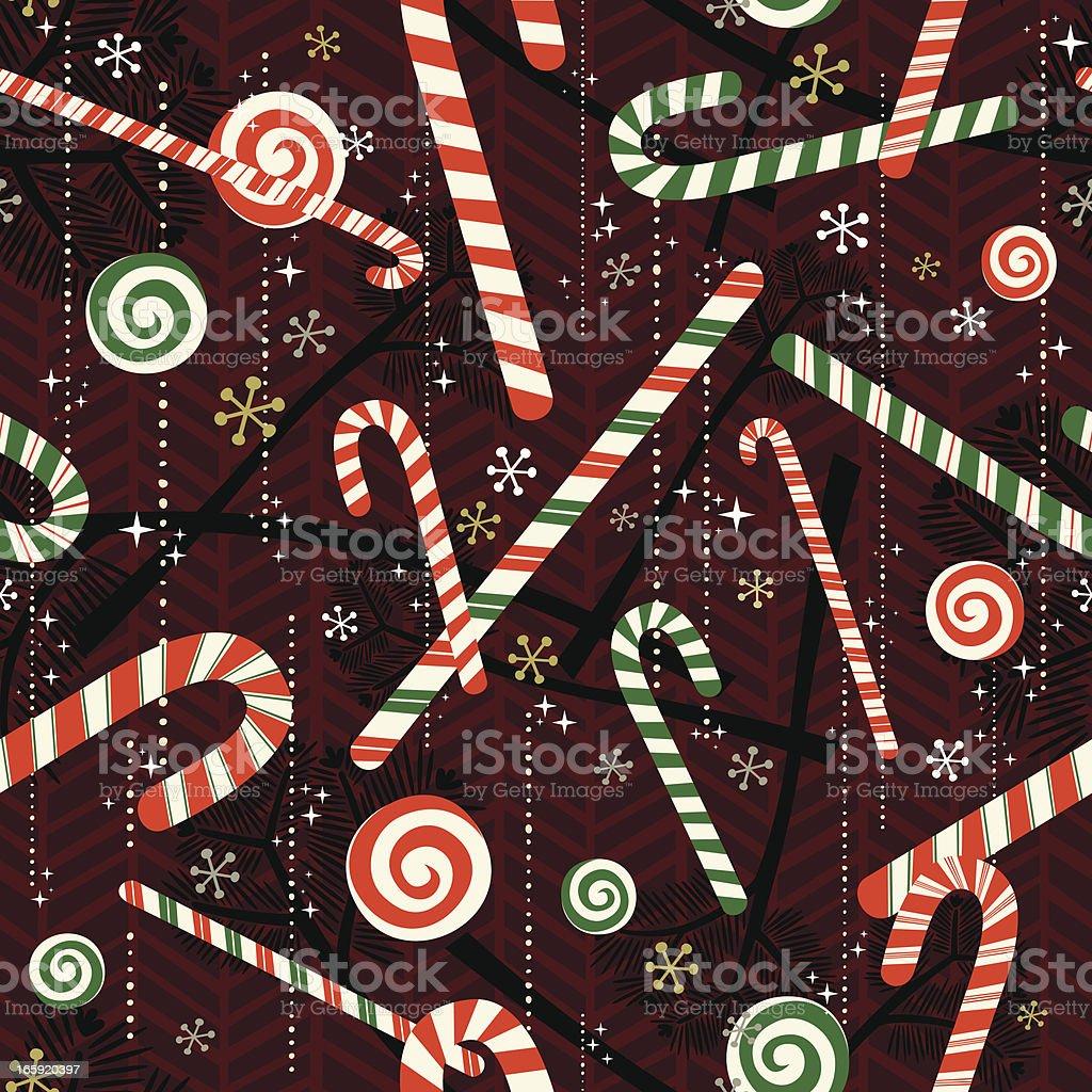 Retro Seamless Candy Cane Pattern. vector art illustration