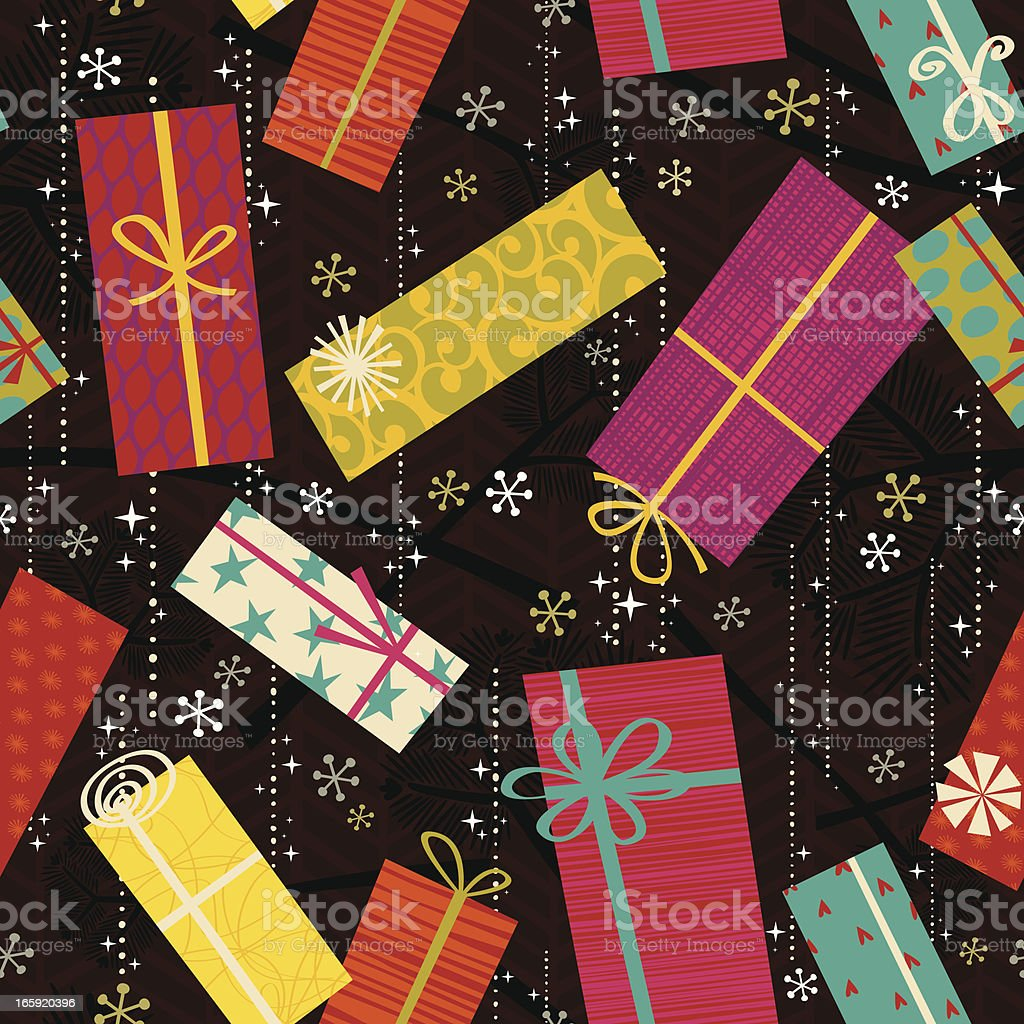 Retro Seamless Gift Pattern royalty-free stock vector art