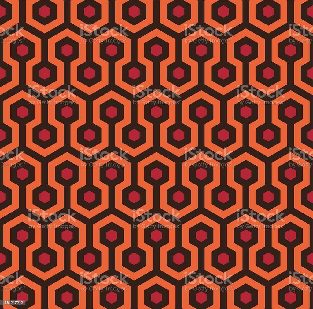 Retro Seamless Hexagon Pattern vector art illustration