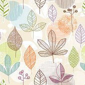 Seamless pattern of hand drawn leaves with a retro feel.  AI9 file with uncropped shapes and hi res jpeg included.  Scroll down to see similar illustrations.