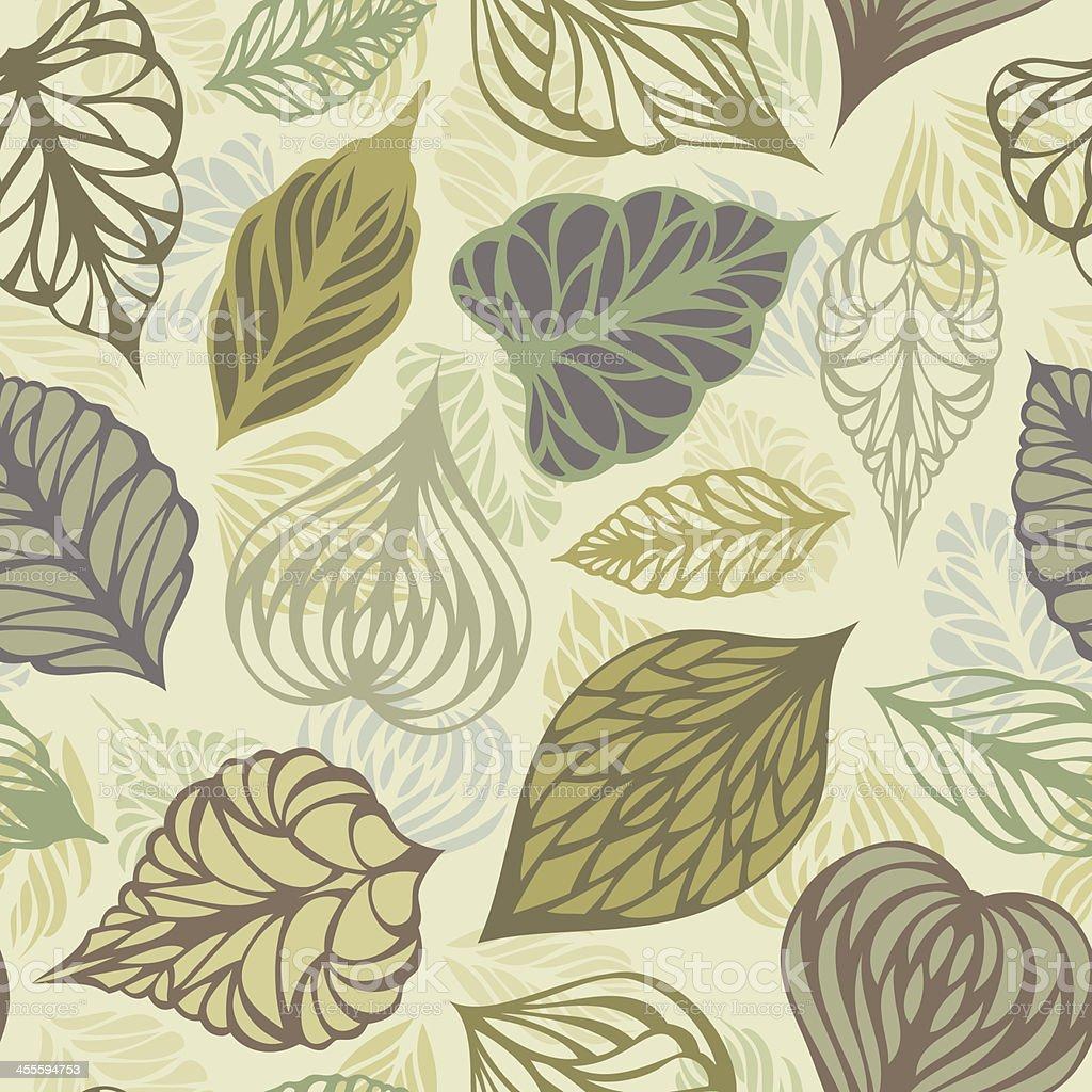 Retro seamless leaves pattern vector art illustration