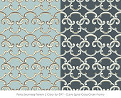 Retro Seamless Pattern 2 Color Set Curve Spiral Cross Chain Frame