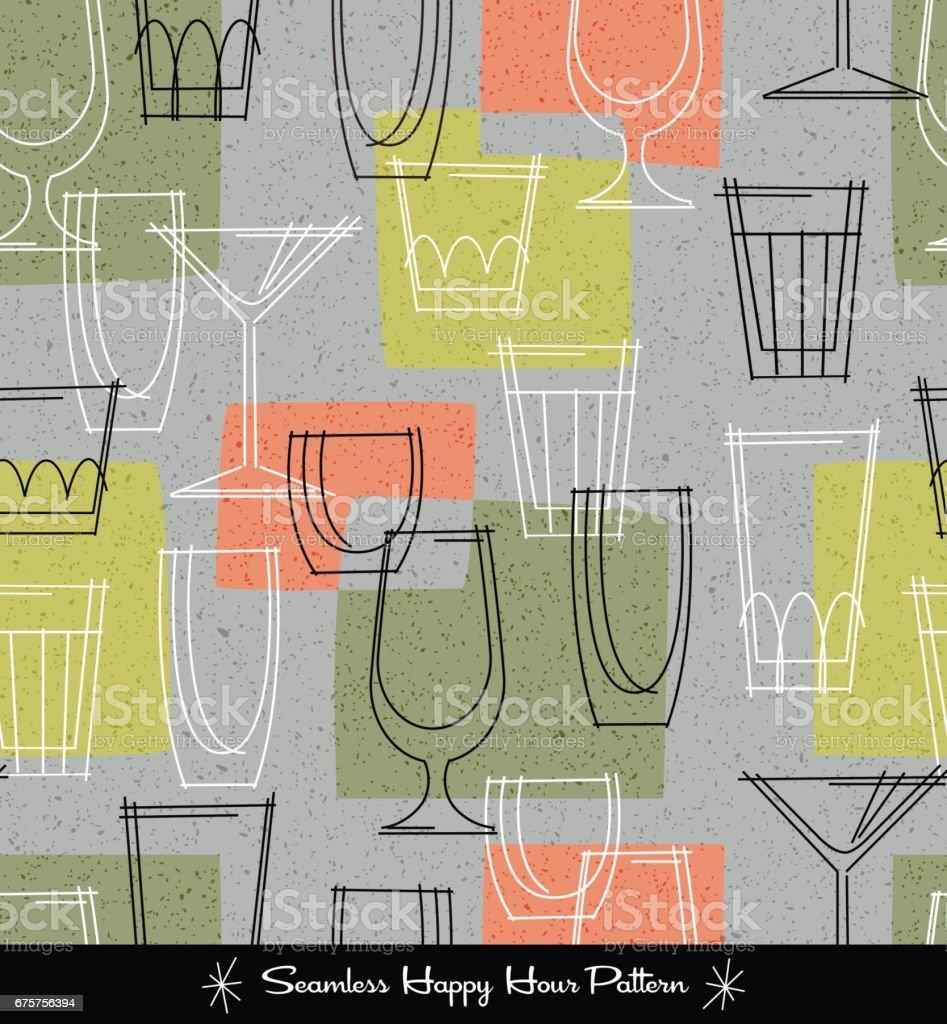 retro seamless pattern of various outlined cocktail glasses. vector illustration vector art illustration
