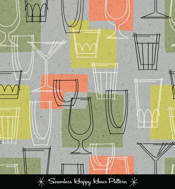 retro seamless pattern of various outlined cocktail glasses. vector illustration - happy hour stock illustrations, clip art, cartoons, & icons