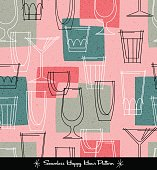 retro seamless pattern of various outlined cocktail glasses. vector illustration