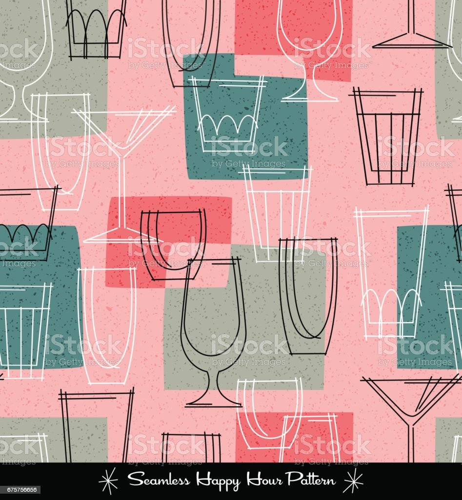 retro seamless pattern of various outlined cocktail glasses. vector illustration vector art illustration