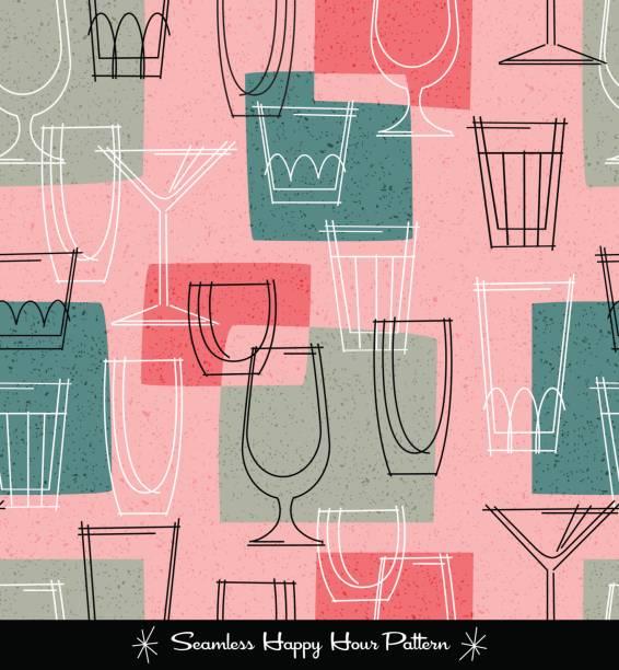 다양 한 복고 완벽 한 패턴 설명 칵테일 안경. 벡터 일러스트 레이 션 - bartender stock illustrations