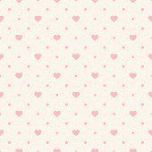 Retro seamless pattern. Pink hearts and dots on beige background.