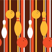 Retro seamless pattern with bowling pins. Use this for repetition background and wallpaper!