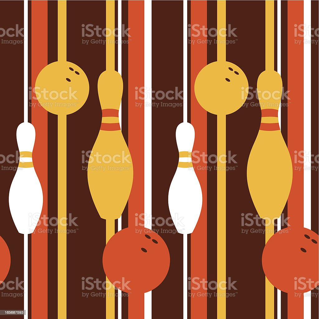 A retro seamless pattern with a bowling theme vector art illustration