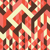 Abstract Geometry. Retro seamless pattern with colorful stripes and triangles.