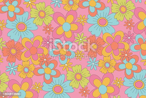 istock retro seamless pattern with flowers for social media posts, banner, card design, etc. 1304813880