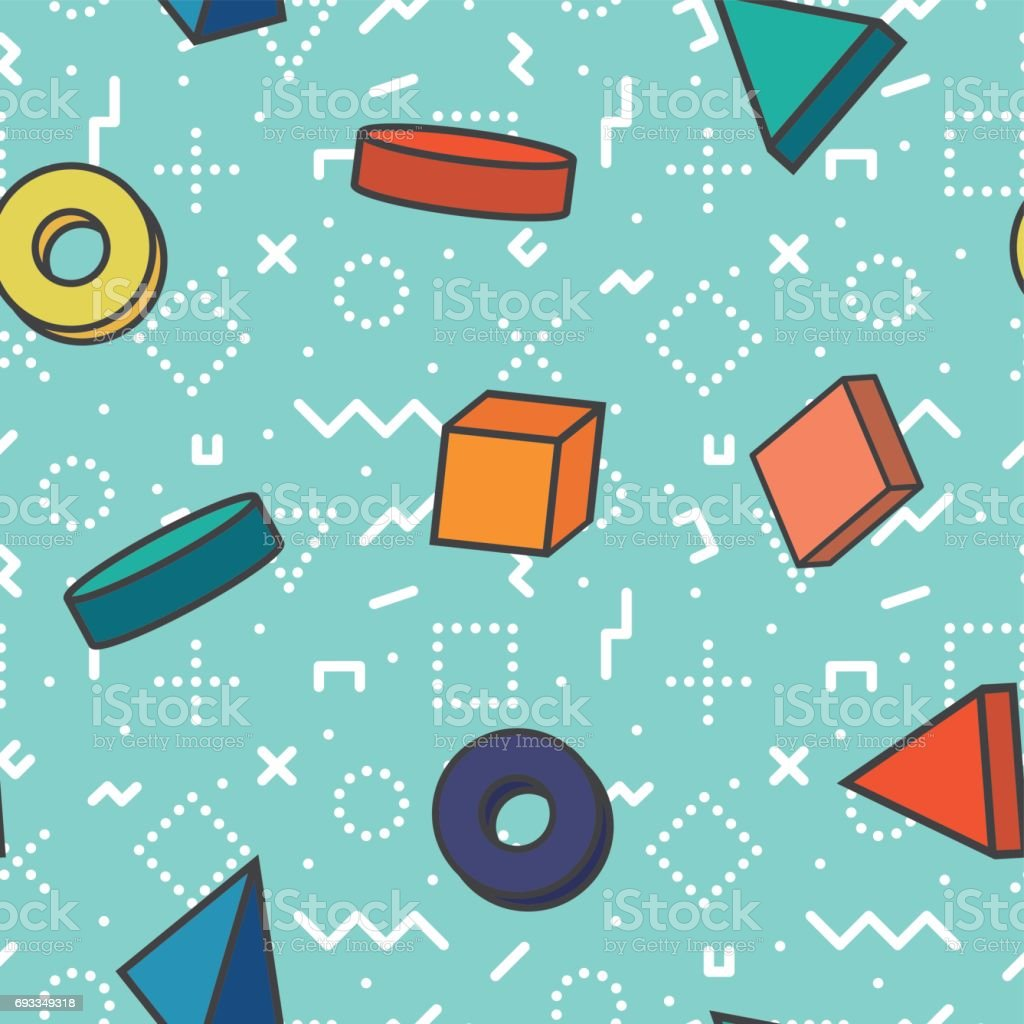 retro seamless patterns - colorful geometric 3d shapes.