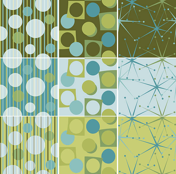 Retro seamless tiles in aqua green and brown vector art illustration