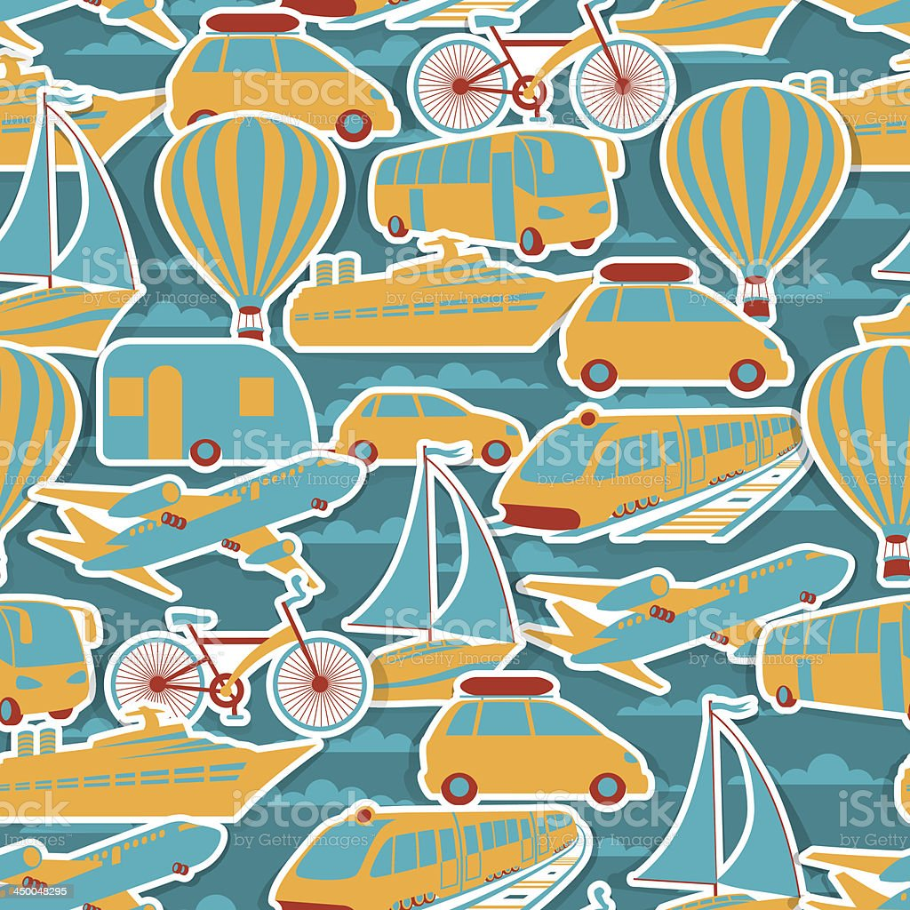 Retro seamless travel pattern. royalty-free retro seamless travel pattern stock vector art & more images of airplane