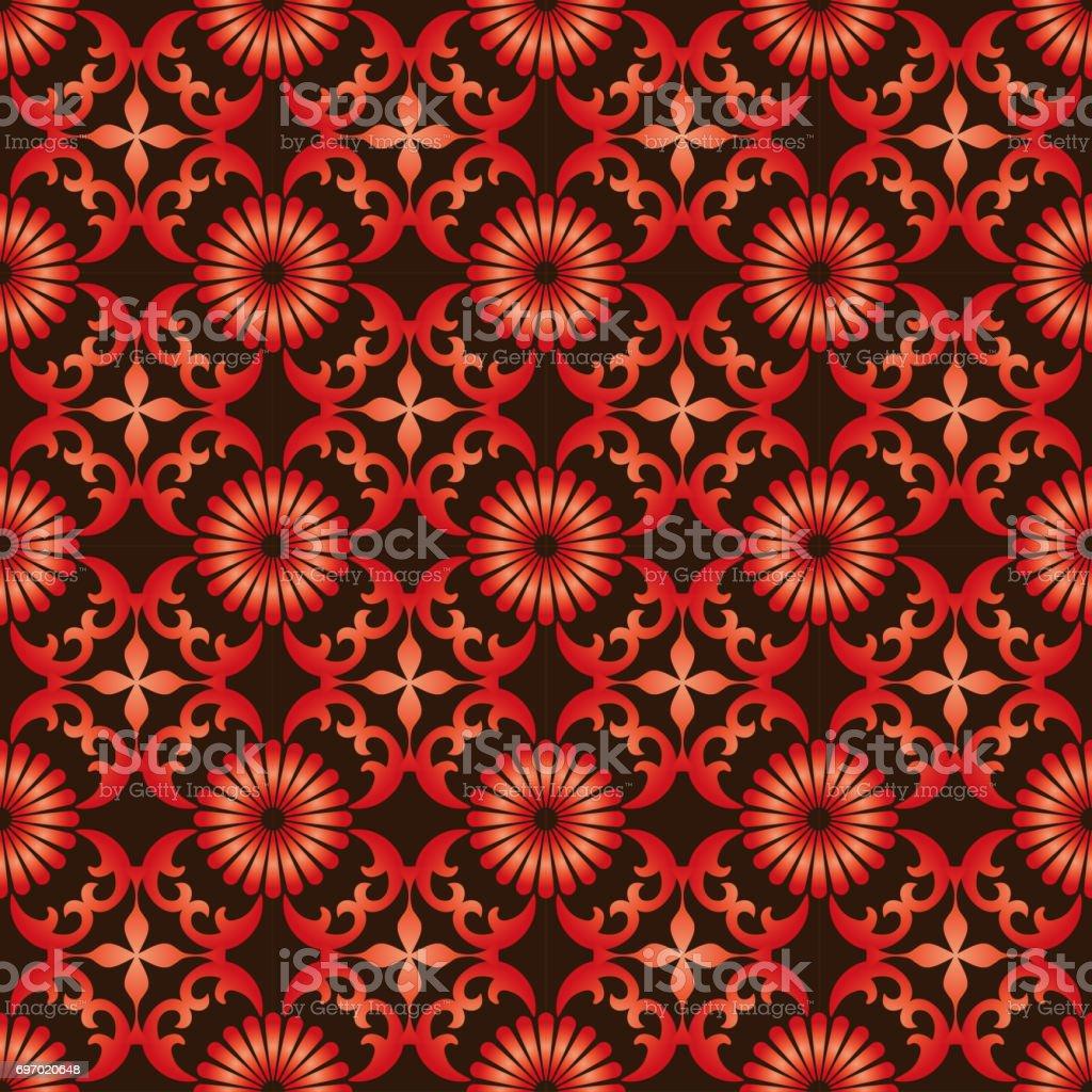 レトロなシームレスな壁紙背景ヴィンテージ グラデーション赤ラウンド