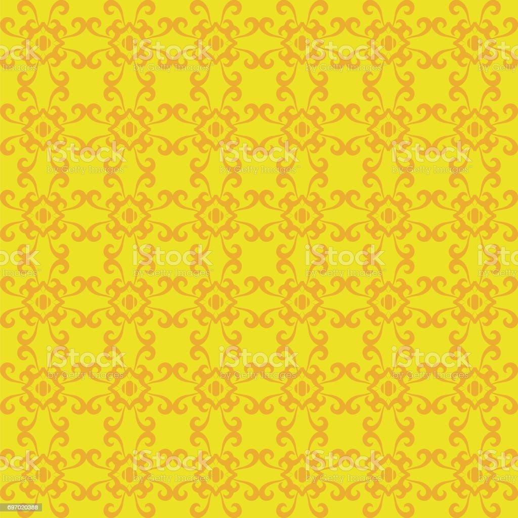 レトロなシームレスな壁紙背景黄色ヴィンテージ スパイラル曲線クロス