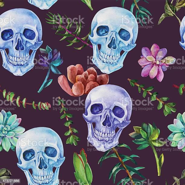 Retro seamless watercolor pattern skull and succulent plants vector id473221886?b=1&k=6&m=473221886&s=612x612&h=ck0shhwmbq8 rttliiohdbt54plbafefgd1llcgece0=