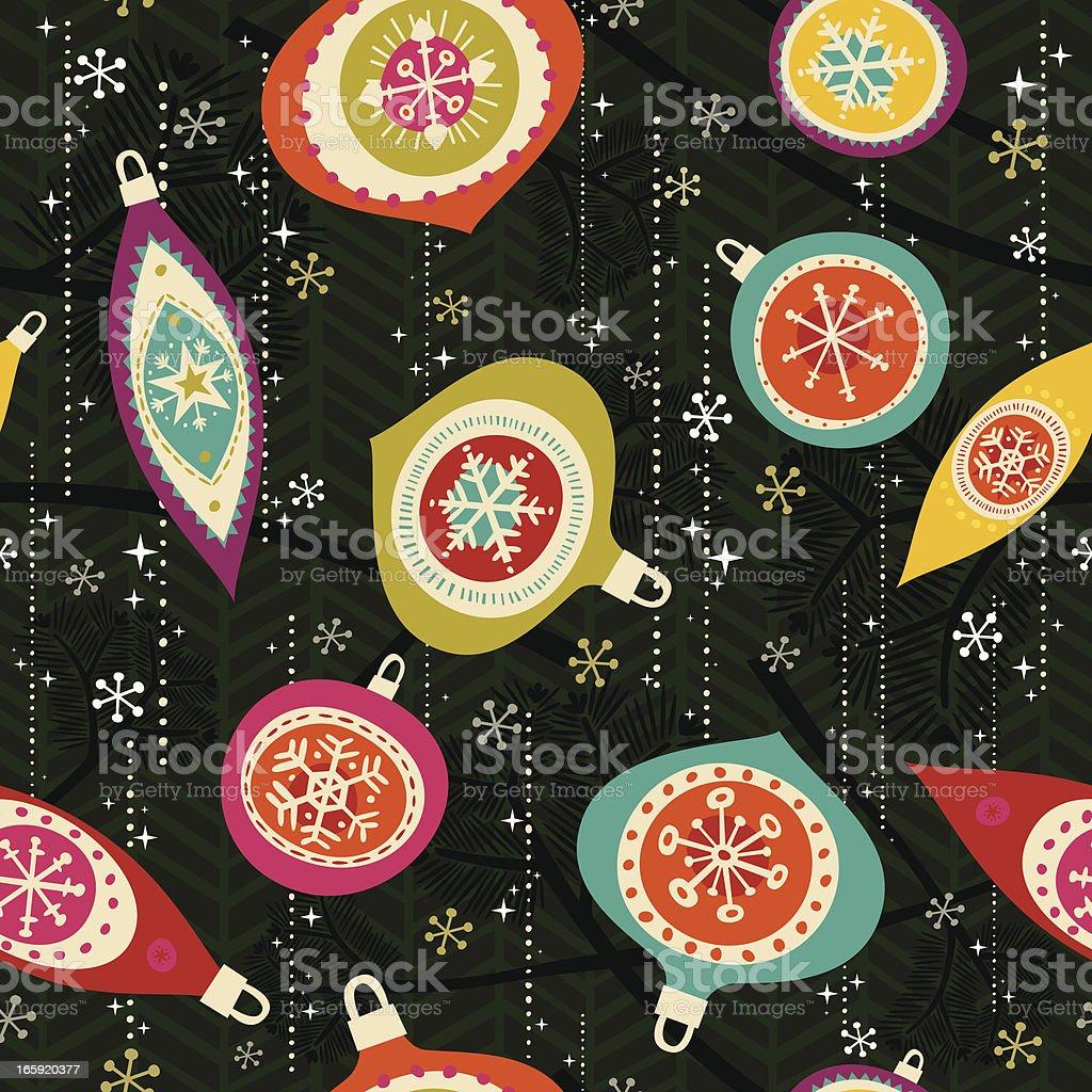 Retro Seamless Xmas Ornament Pattern vector art illustration