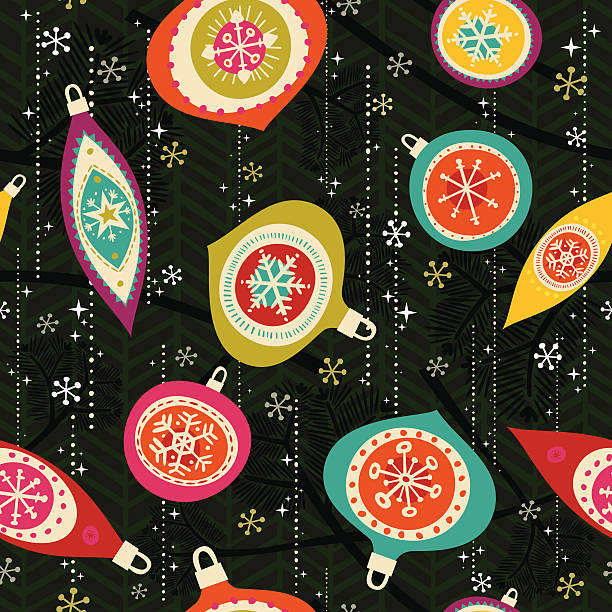 Retro Seamless Xmas Ornament Pattern vector art illustration