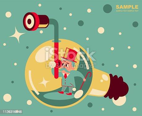 Retro Characters Design, Manga Style ,Cartoon, Vector art illustration, Full Length. Retro senior man piloting a deep sea idea light bulb submarine and looking through a periscope.