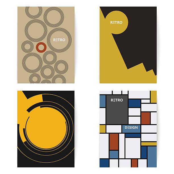retro satz broschüren-vorlagen im vintage-stil. vektor-illustration. - bauhaus stock-grafiken, -clipart, -cartoons und -symbole