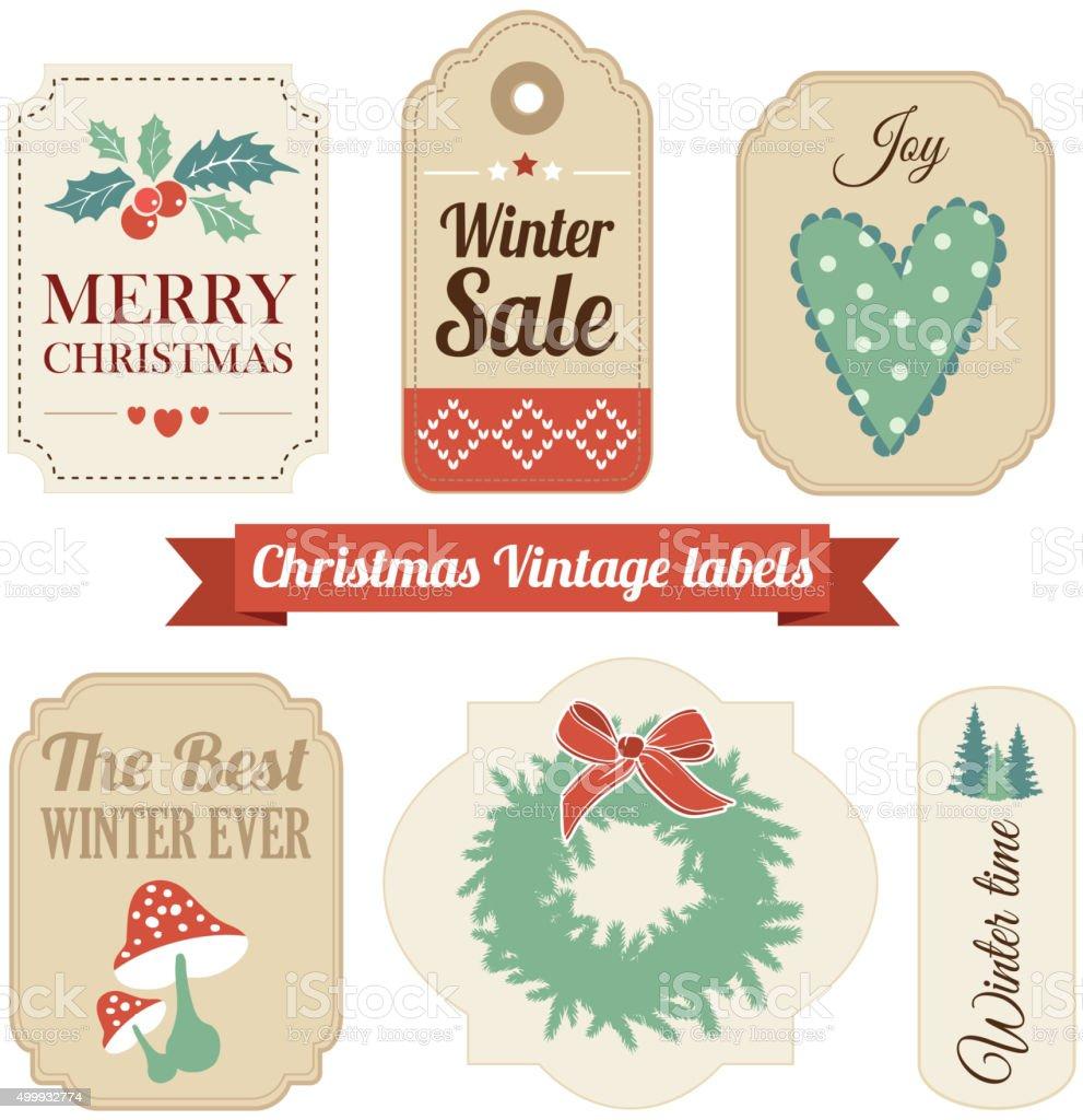 Retro Satz Von Weihnachten Vintage Geschenk Verkauf Etiketten Tags ...