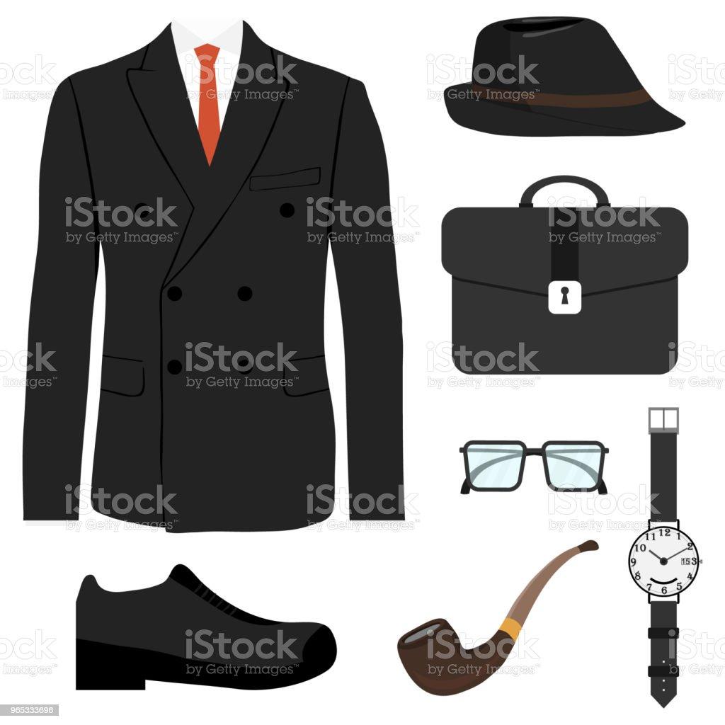 Retro set of gentleman. A set of men's accessories. retro set of gentleman a set of mens accessories - stockowe grafiki wektorowe i więcej obrazów akcesorium osobiste royalty-free