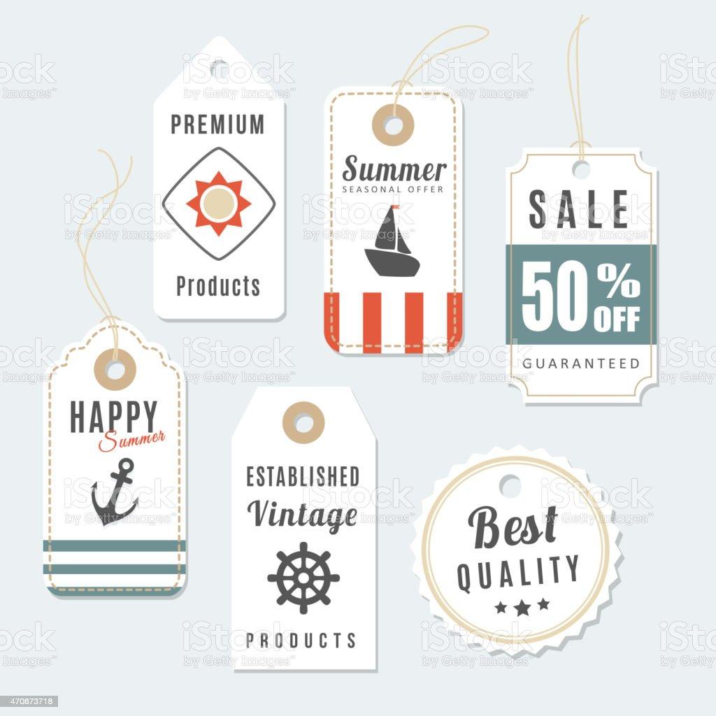 Retro set of summer vintage sale, quality labels, vector tags vector art illustration