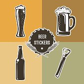 Retro set with beer elements for logo design. Vector illustration with pint, glass of beer, bottle and opener. Beer stickers used for advertising beverage, brewery, bar, pub or restaurant.