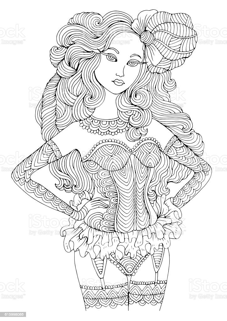 retro sexy girl in lingerie coloring page in boudoir style royalty free retro sexy girl - Sexy Coloring Pages