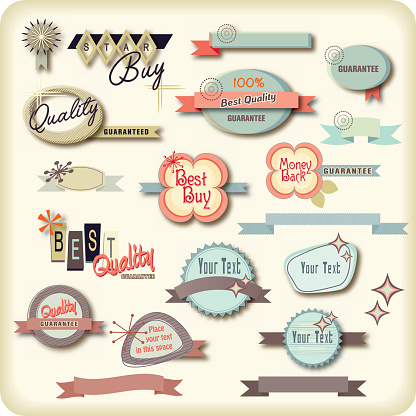 Retro shaped labels or signs