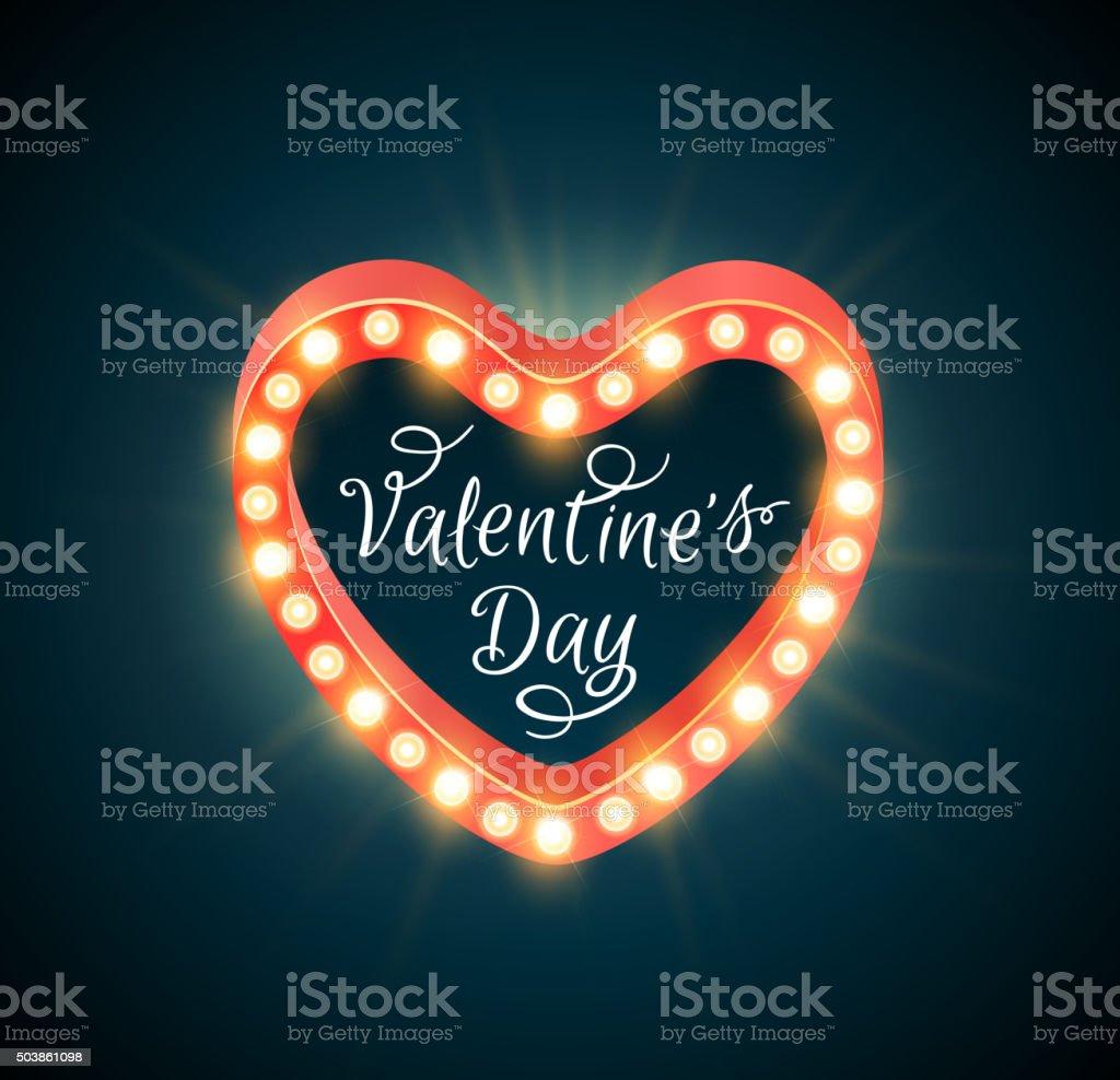 Retro shining Valentine banner vector art illustration