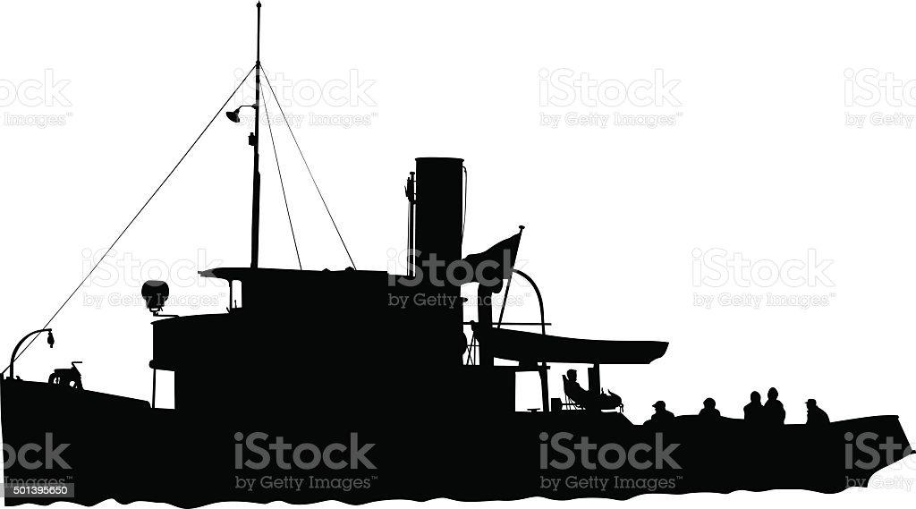 Retro ship vector art illustration