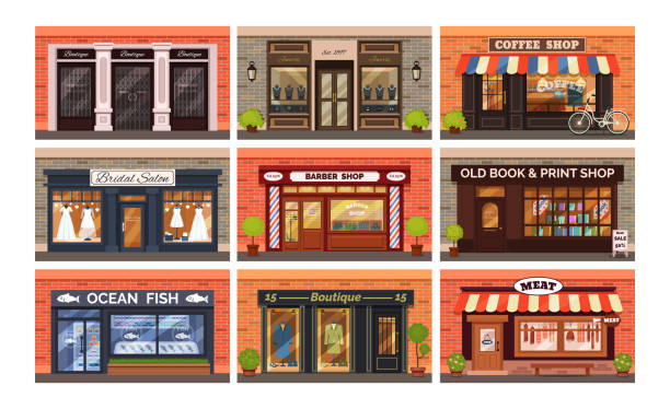 retro shop store facade with storefront vector - butik stock illustrations